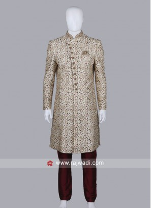Cream Silk Sherwani