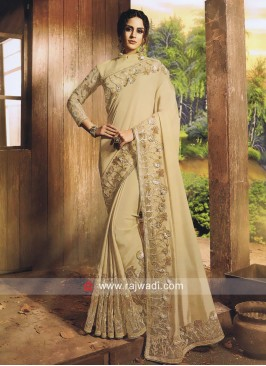 Cream Wedding Saree with Embroidered Border