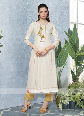 Cream & Yellow Kurta Set