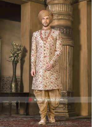 Cream Zari Work Indo Western For Wedding