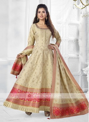 cream color Anarkali Suit with dupatta
