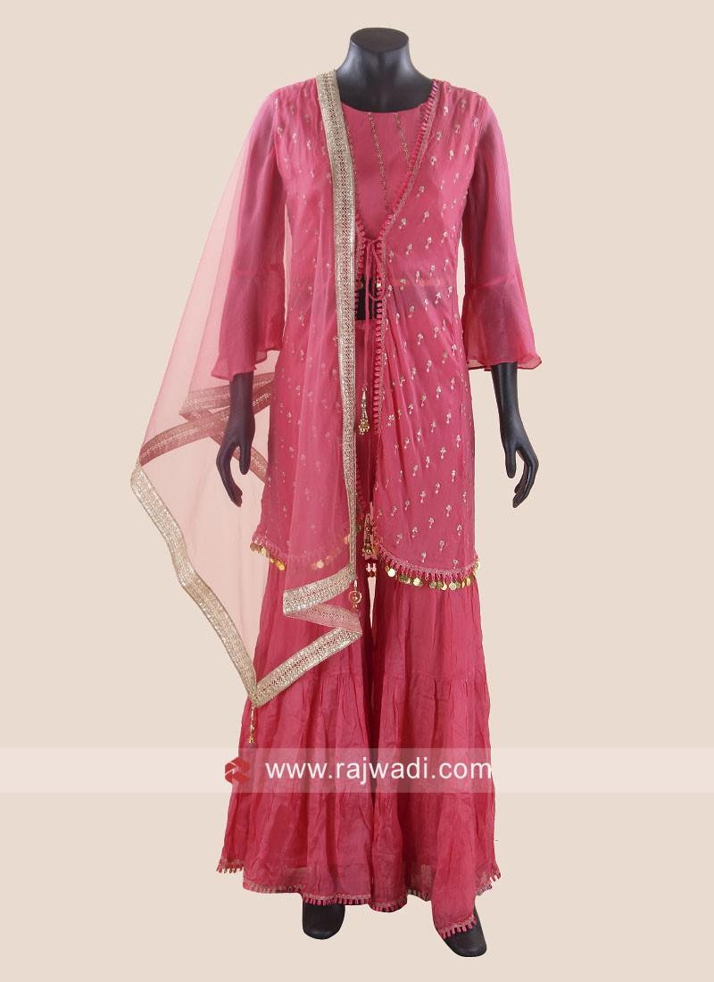 Crepe Chiffon Koti Style Gharara Suit