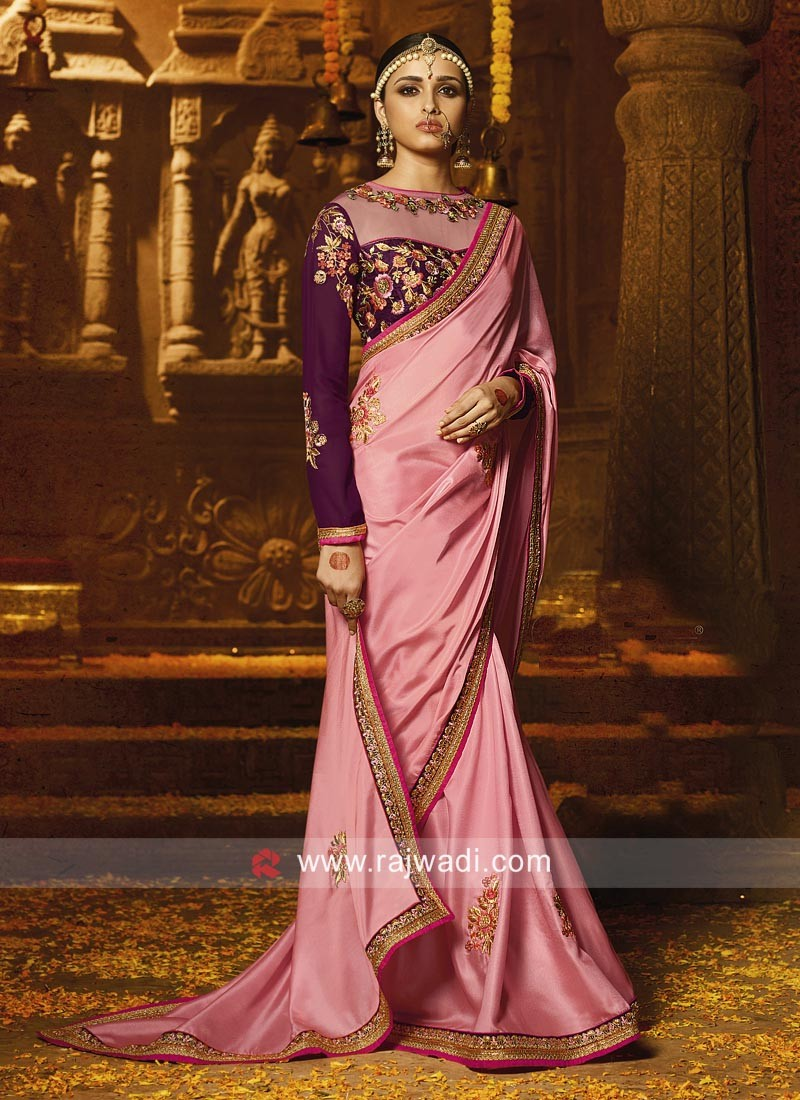 c69707b23f Crepe Pink Saree with Contrast Blouse. Hover to zoom