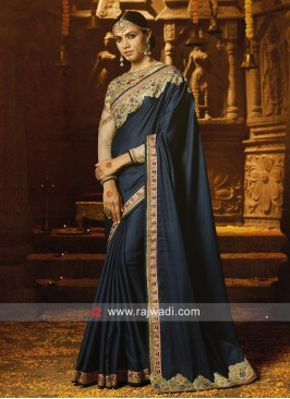 Crepe Saree in Navy Blue with Border