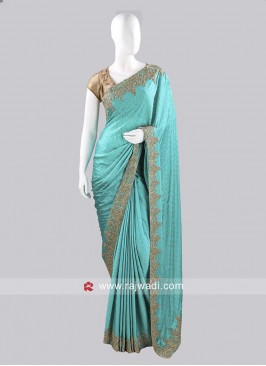 Crepe Satin Sari with Contrast Border