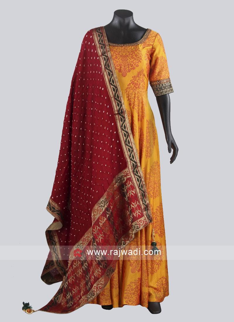 Crepe Silk Anarkali Suit in Golden Yellow