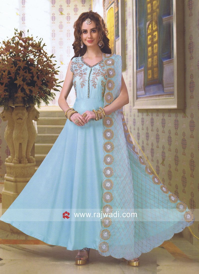 Crepe Silk Anarkali Suit in Sky Blue