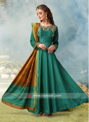 Crepe Silk Floor Length Anarkali Dress