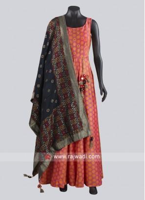 Crepe Silk Floor Length Anarkali Salwar Kameez