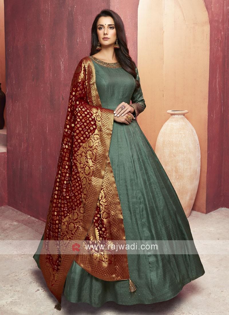 Crepe Silk Floor Length Anarkali Suit