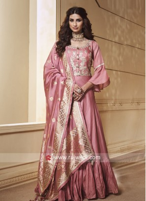 Crepe Silk Floor Length Anarkali with Dupatta