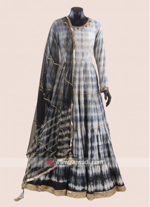 Crepe Silk Floor Length Pleated Anarkali Suit