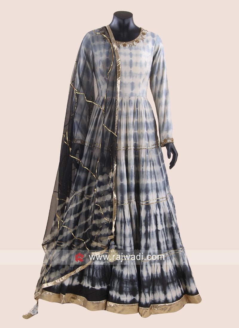 Crepe Silk Floor Length Pleated Anarkali Suit