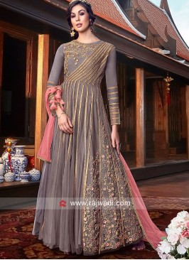 Crepe Silk Floor Length Suit with Contrast Dupatta