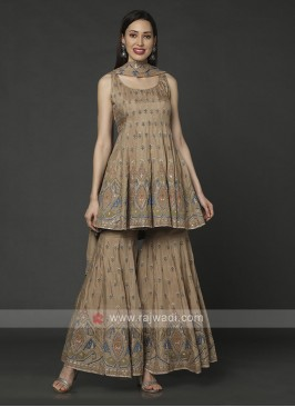 Crepe Silk Gharara Suit In Beige