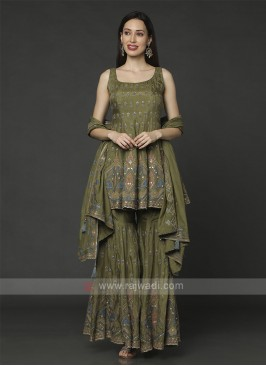 Crepe Silk Gharara Suit In Mehndi Green