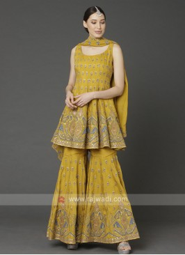 Crepe Silk Gharara Suit In Mustard Yellow
