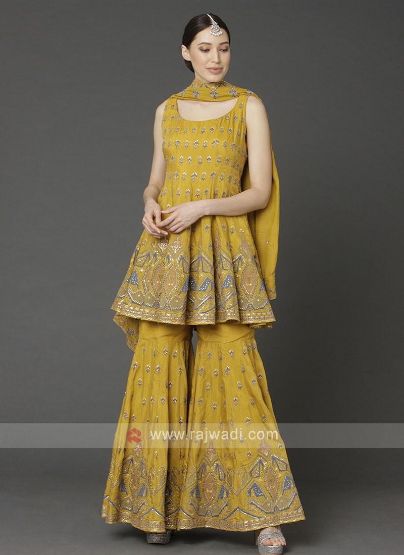 Crepe Silk Gharara Suit In Mustard Yellow