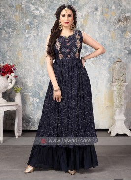 Crepe Silk Gharara Suit In Navy Blue
