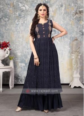 Crepe Silk Gharara Suit In Navy Blue