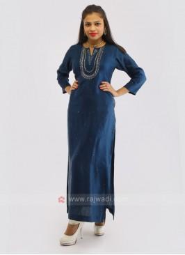 Crepe Silk Indigo Blue Kurti