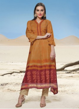 Crepe Silk Kurti In Bright Orange Color