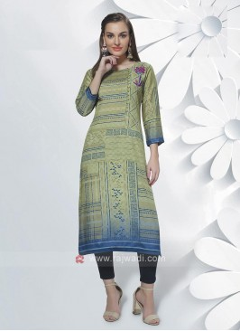 Crepe Silk Kurti In Green