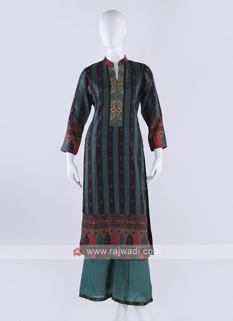 Crepe silk palazzo kurti in peacock blue color
