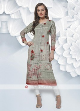 Crepe Silk Kurti In Slate Grey