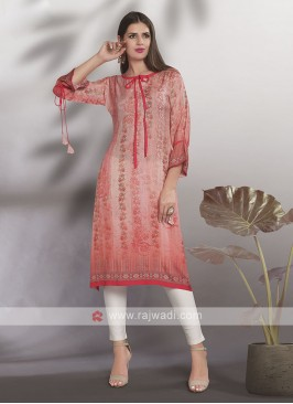 Crepe Silk Light Peach Kurti