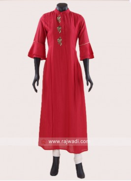 Crepe Silk Long Bell Sleeves Kurti
