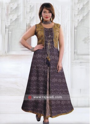 Crepe Silk Long Kurti with Koti