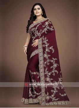 Crepe Silk Maroon Saree with blouse