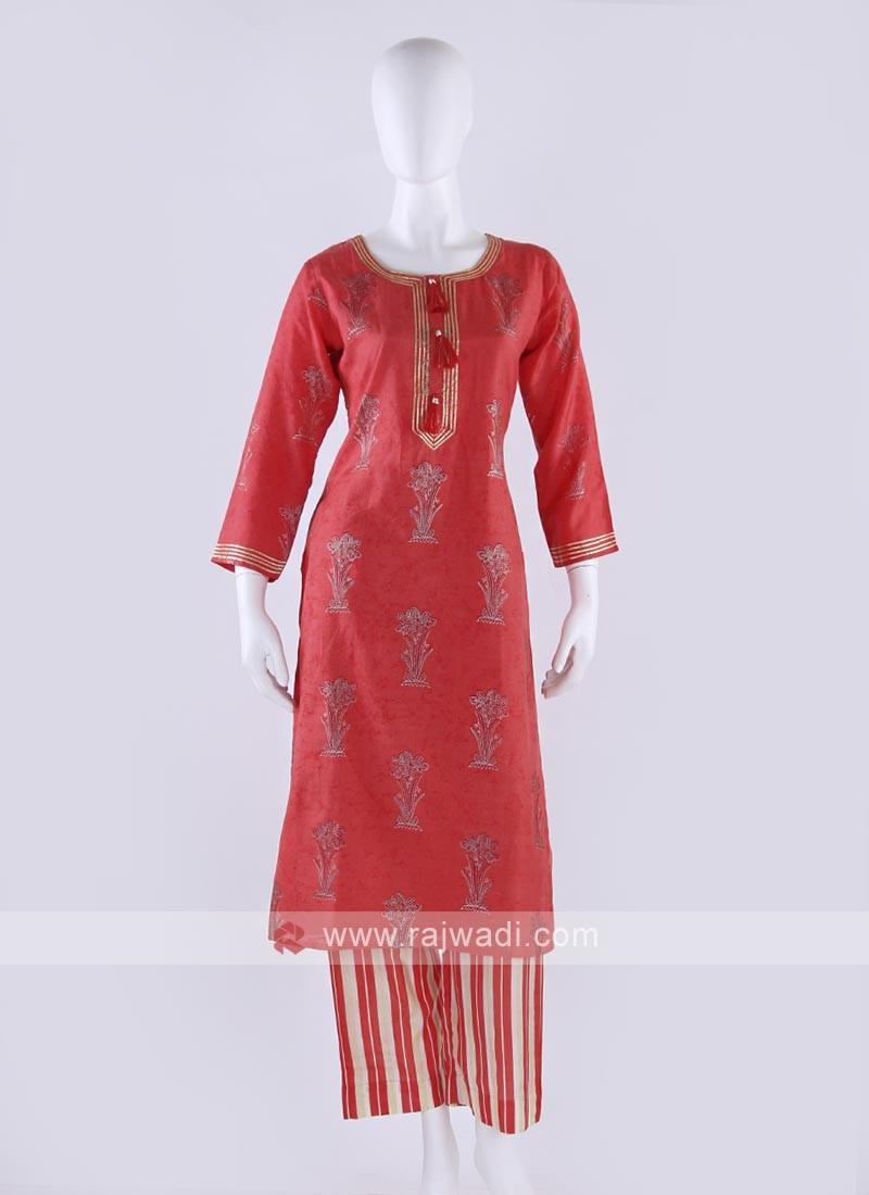 Crepe silk palazzo kurti in gajari pink color