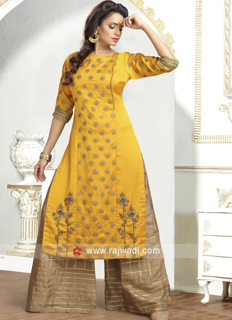 Crepe Silk Palazzo Suit in Mustard Yellow