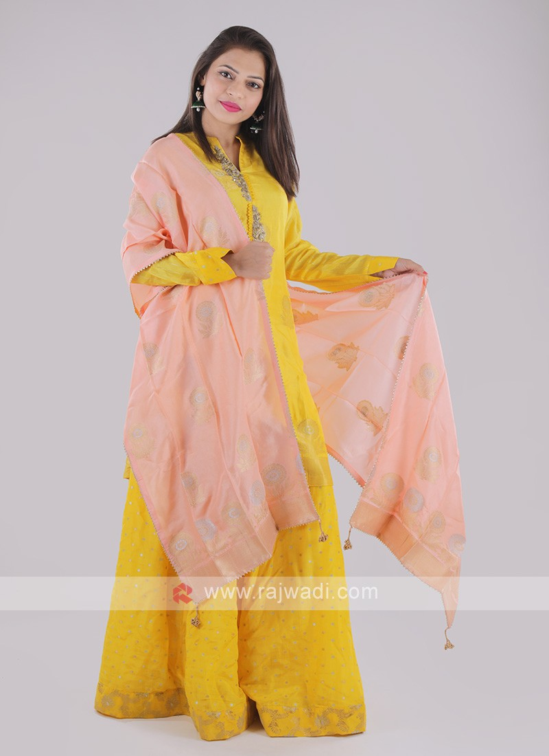Silk Palazzo Suit In Yellow
