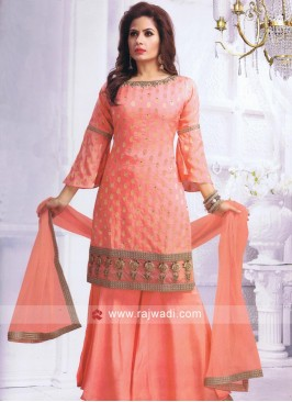 Crepe Silk Peach Gharara Suit