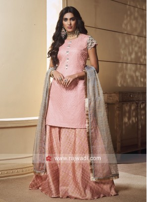 Crepe Silk Pearl Work Palazzo Suit
