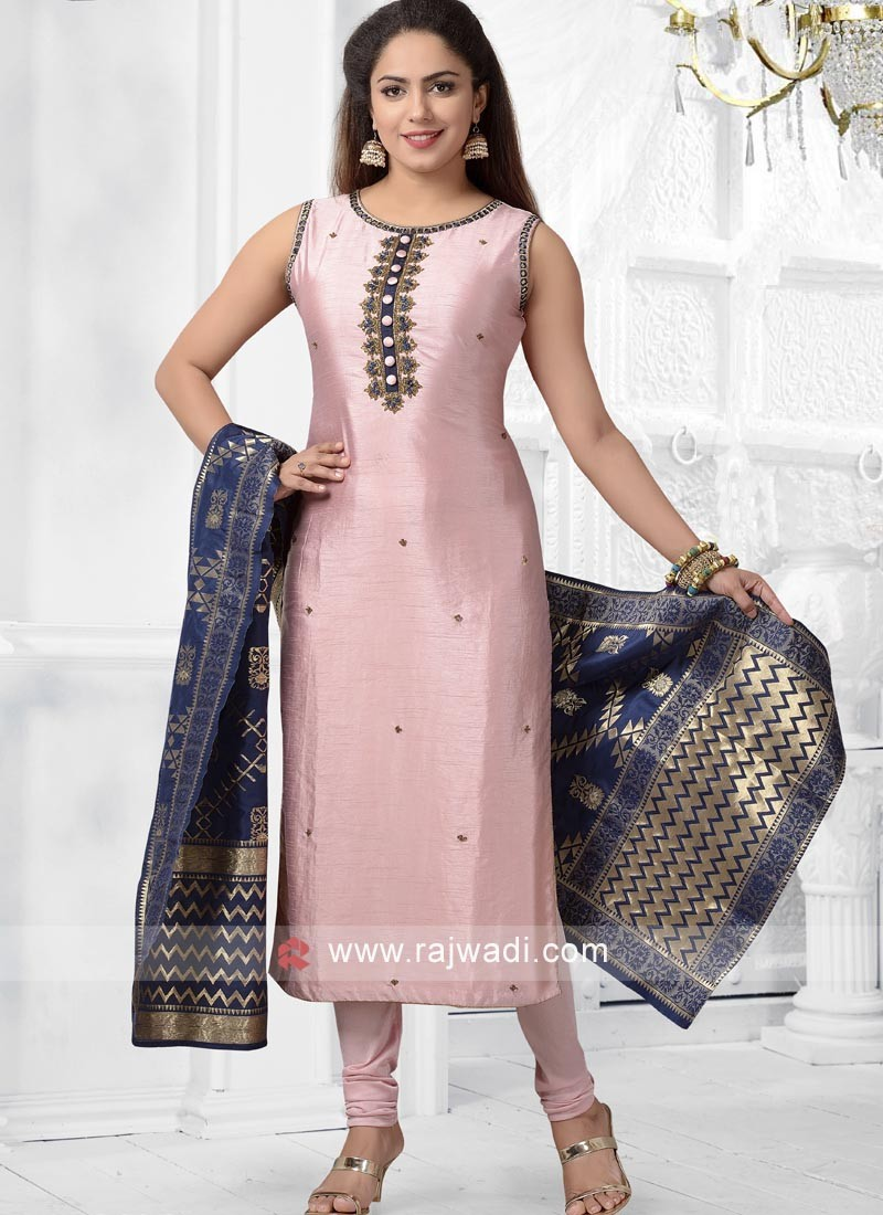 Crepe Silk Pink Churidar Suit