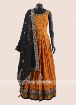 Crepe Silk Pleated Anarkali Suit with Dupatta