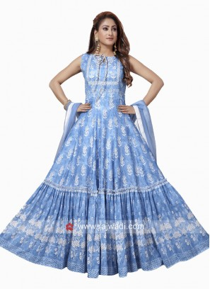 Crepe Silk Printed Anarkali Suit in Sky Blue
