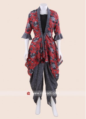 Crepe Silk Printed Dhoti Suit for Eid