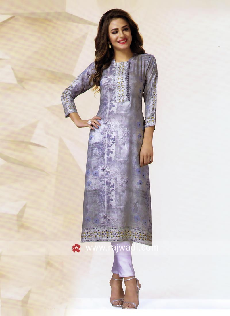 Crepe Silk Printed Kurti with Buttons