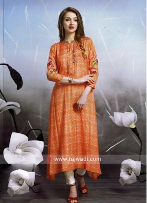 Dressline Crepe Silk Printed Layer Kurti