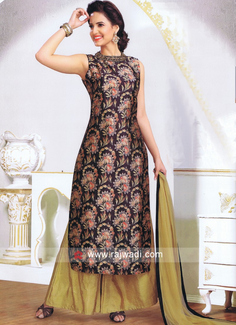 Crepe Silk Printed Palazzo Suit with Dupatta
