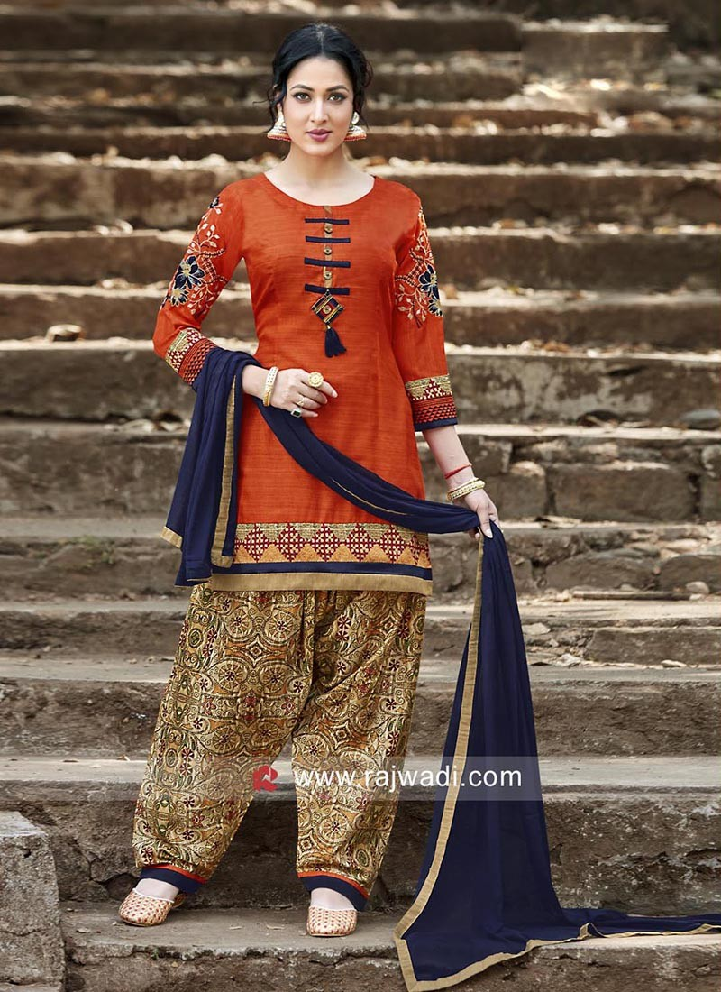 Crepe Silk Printed Patiala Set