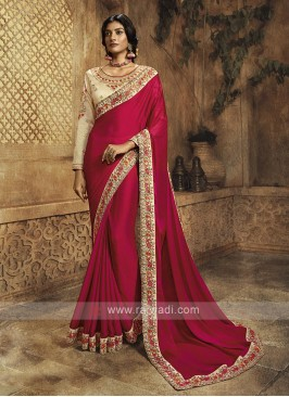 Crepe Silk Rani Color Saree