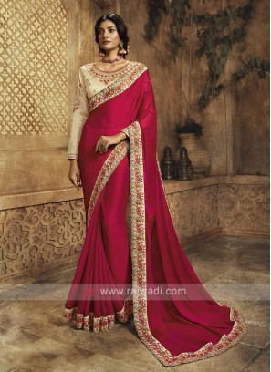 Crepe Silk Rani Color Saree