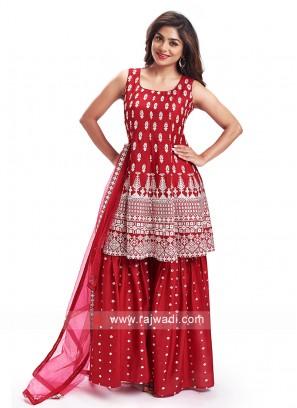 Crepe Silk Rani Gharara Suit