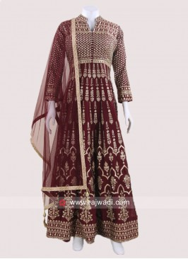 Crepe Silk Stitched Anarkali Suit in Maroon